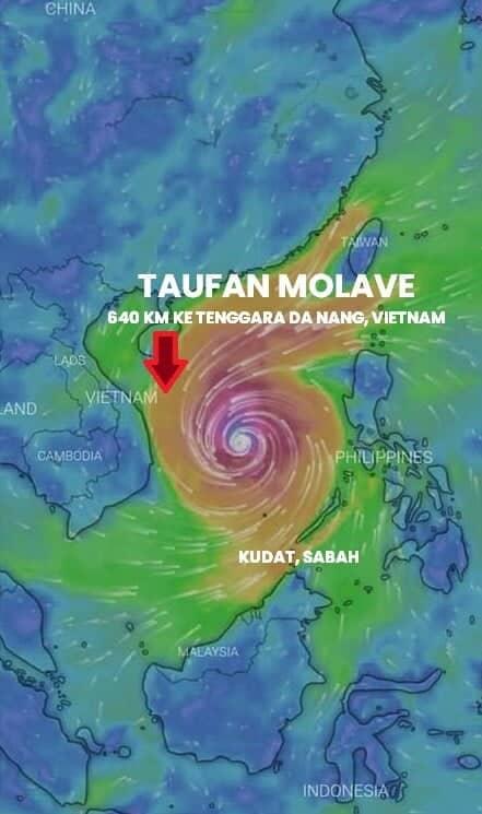 Gelora Ganas Di Laut China Selatan, METMalaysia Beri Amaran Tempias Taufan Molave