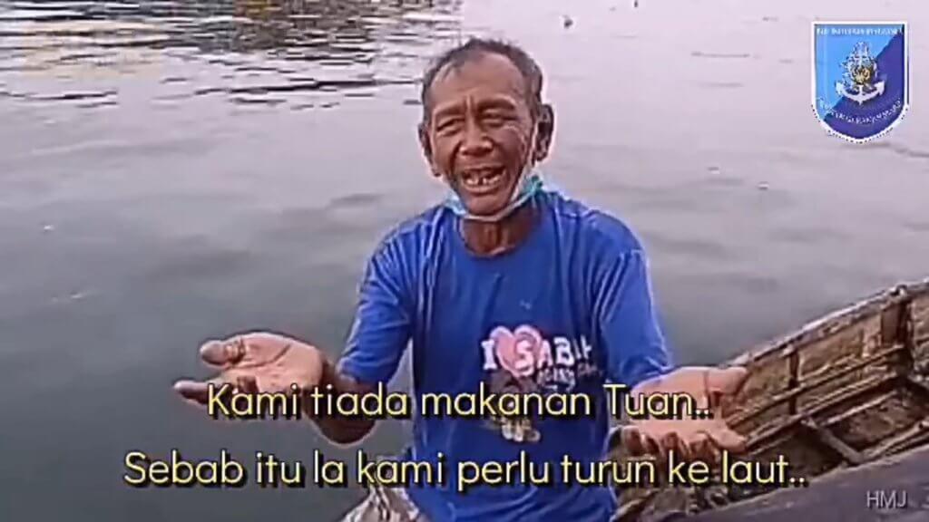 Gigih Dayung Perahu Ke Tengah Laut, Pakcik Bajau Ini Terpaksa Kejar Polis Marin Rayu Bantuan Makanan