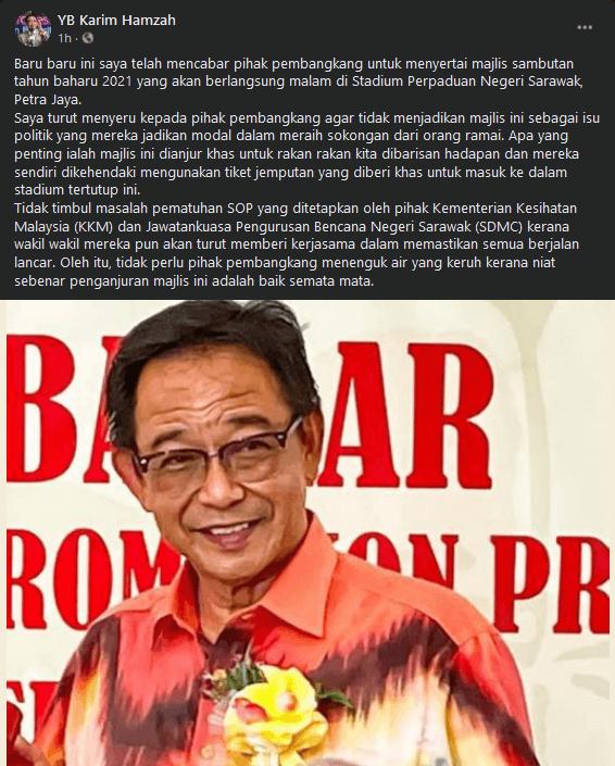 Menteri Ujar Sambutan Tahun Baru 2021 Sarawak Berniat Baik, Tetap Jemput Frontliners Hadiri Majlis