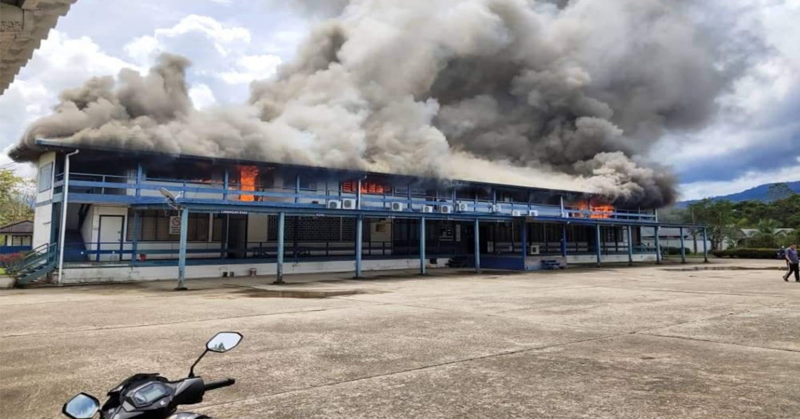 Bangunan Balai Polis Belaga Musnah Akibat Kebakaran