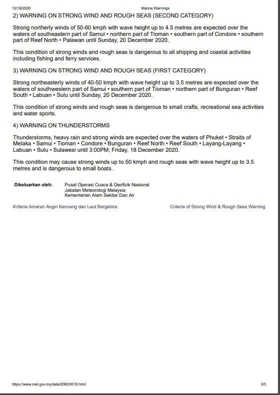 Amaran Angin Kencang Dan Laut Bergelora Kategori Pertama Di Perairan Sarawak
