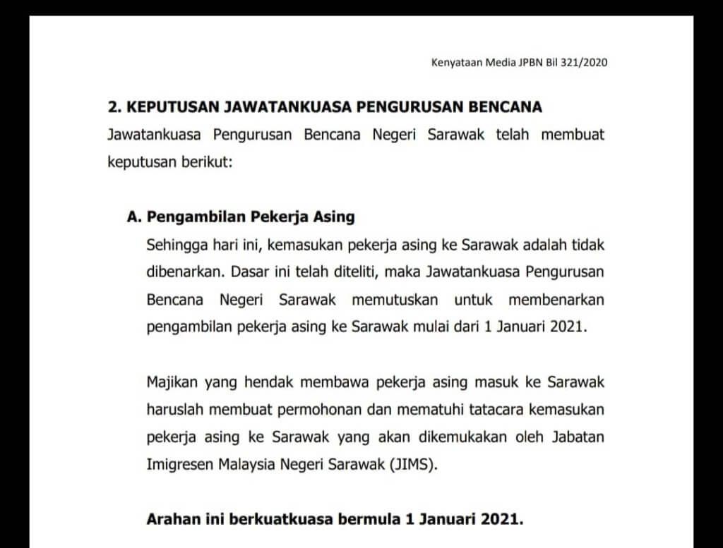 Sarawak Benarkan Semula Kemasukan Pekerja Warga Asing Mulai Januari 2021