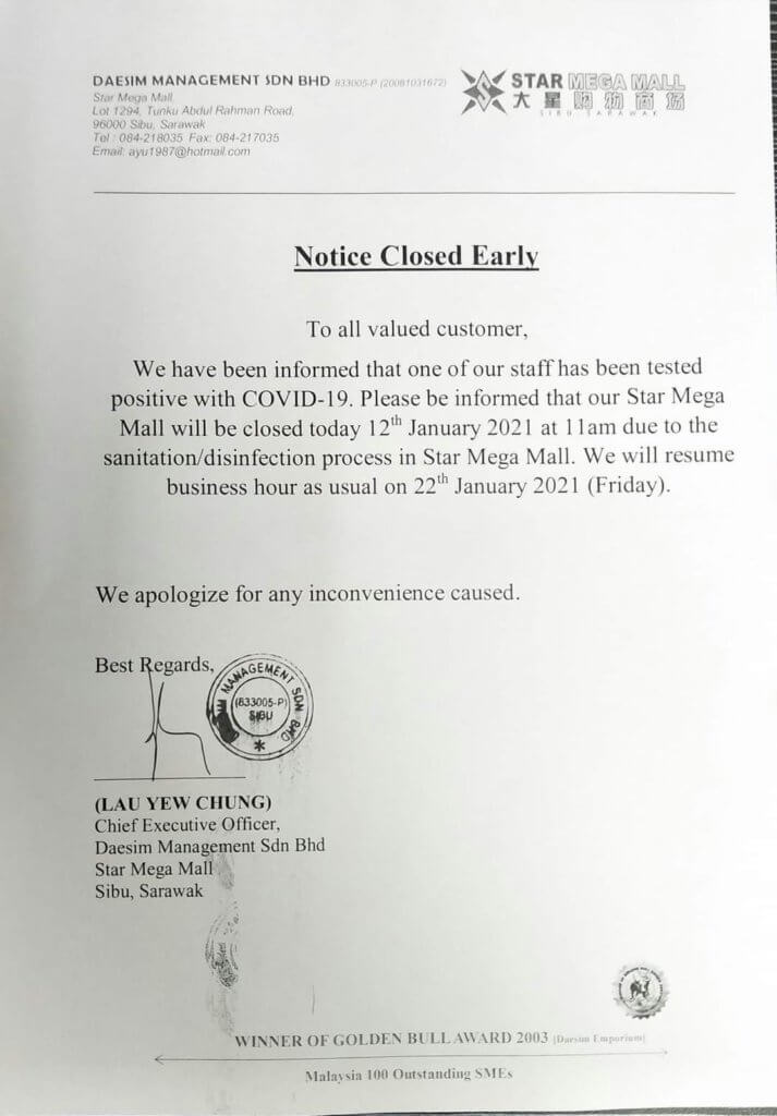 TERKINI: Staff Deasco Star Megamall Sibu Disahkan Positif COVID-19