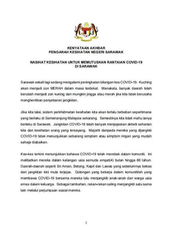 COVID-19 Telah Merebak Dalam Komuniti, Ini Nasihat Daripada Jabatan Kesihatan Negeri Sarawak