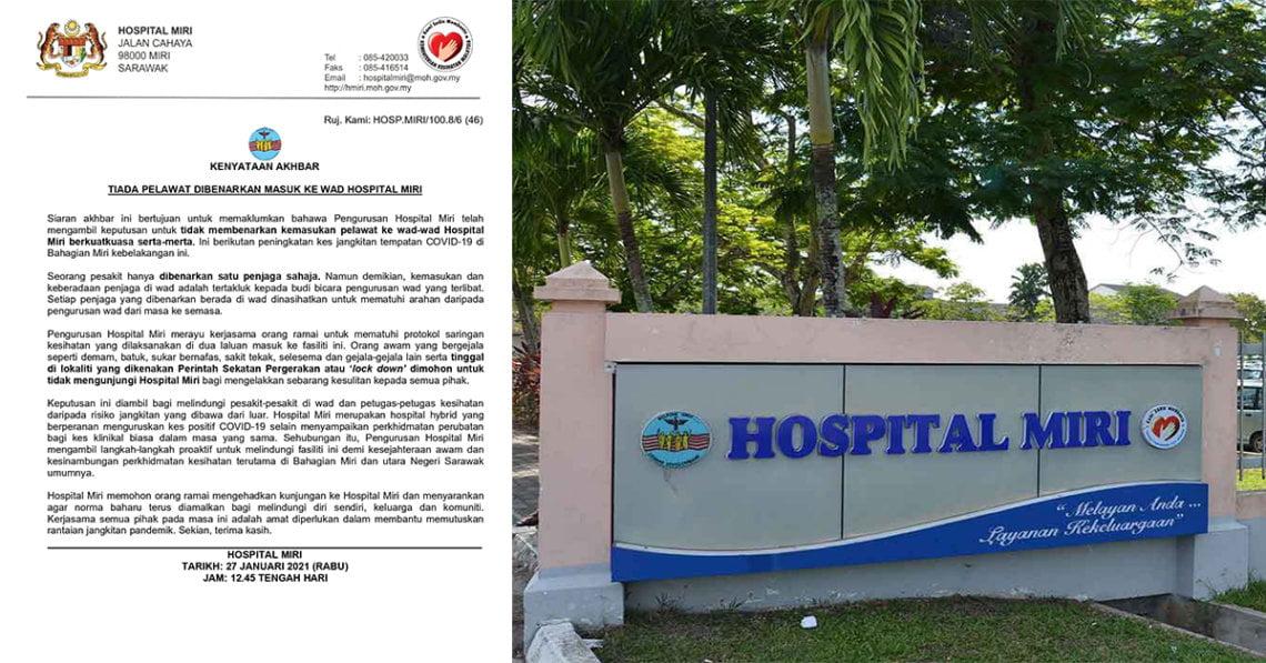 Wad Hospital Miri Kini Tidak Membenarkan Pelawat, Seorang Pesakit Seorang Penjaga