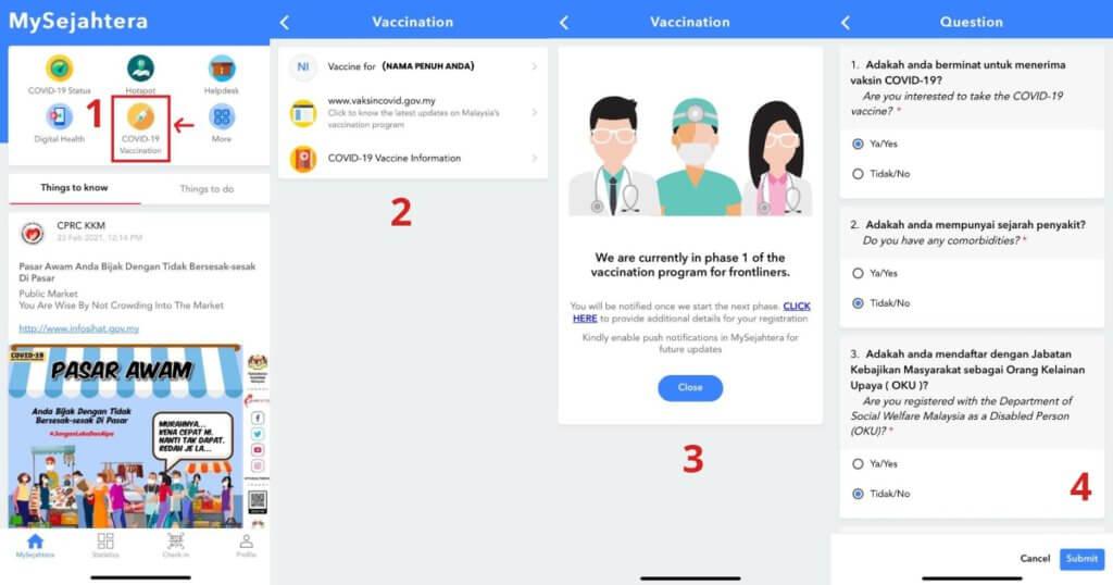 Aplikasi MySejahtera Kini Telah Dikemaskini Dengan Pendaftaran Vaksin COVID-19