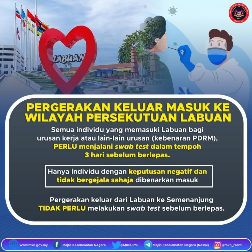 Pergerakan Keluar Masuk Labuan, Sabah Dan Sarawak Perlu Jalani Ujian Calitan 3 Hari Sebelum