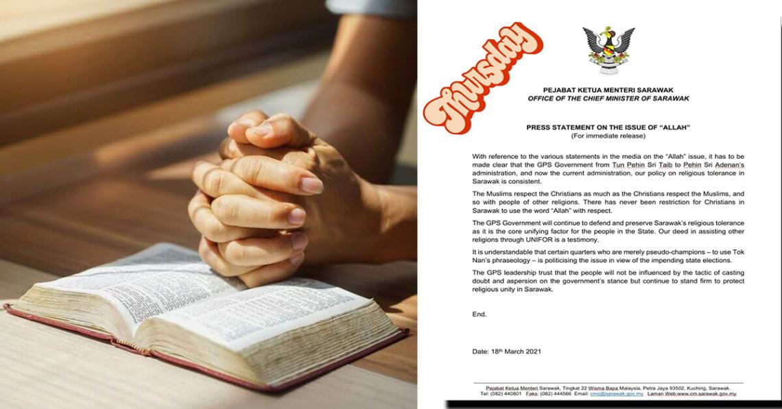 Kerajaan Sarawak : Tiada Halangan Untuk Penganut Kristian Menggunakan Kalimah 'Allah'