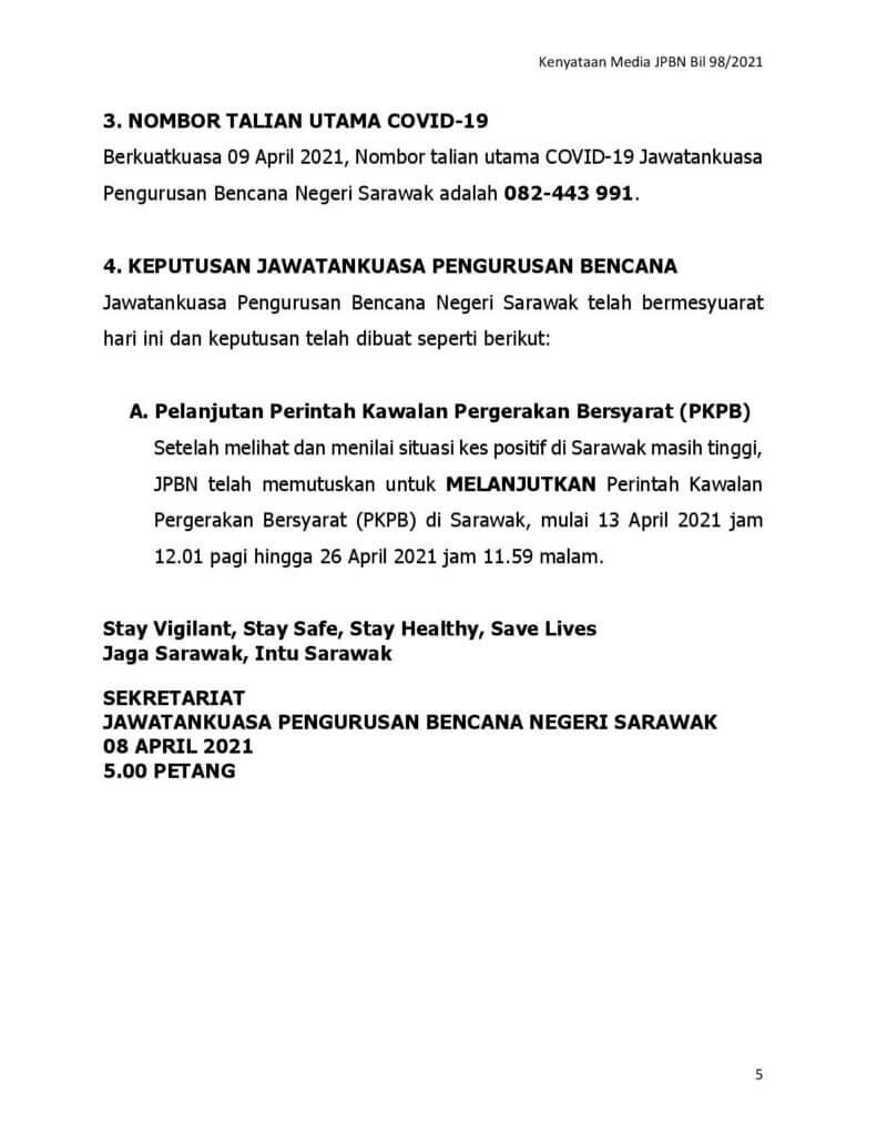 TERKINI : PKPB Di Sarawak Dilanjutkan Sehingga 26 April Ini
