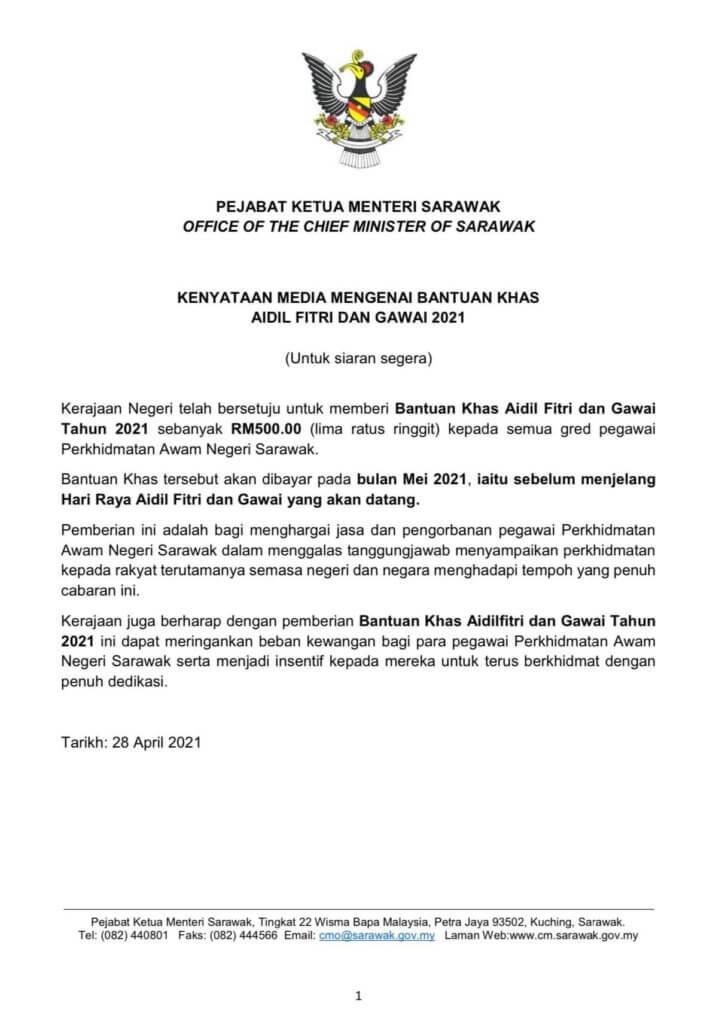 Kerajaan Sarawak Umum Bonus Khas Raya Gawai Untuk Penjawat Awam Sarawak 2021