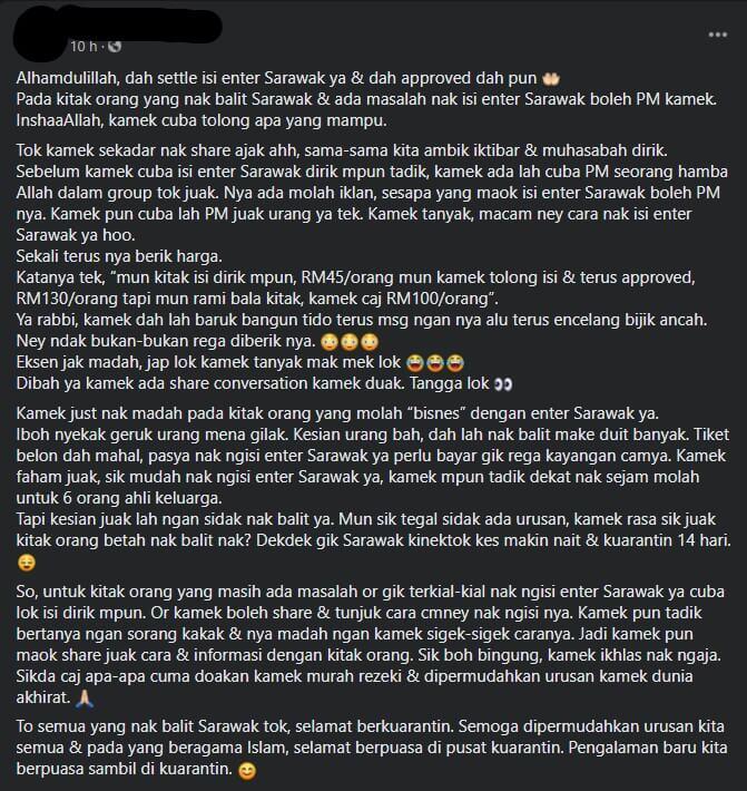 Setinggi RM130 Seorang, Netizen Kongsi Kos Upah 'Cekik Darah' Untuk Bantu Isi enterSarawak