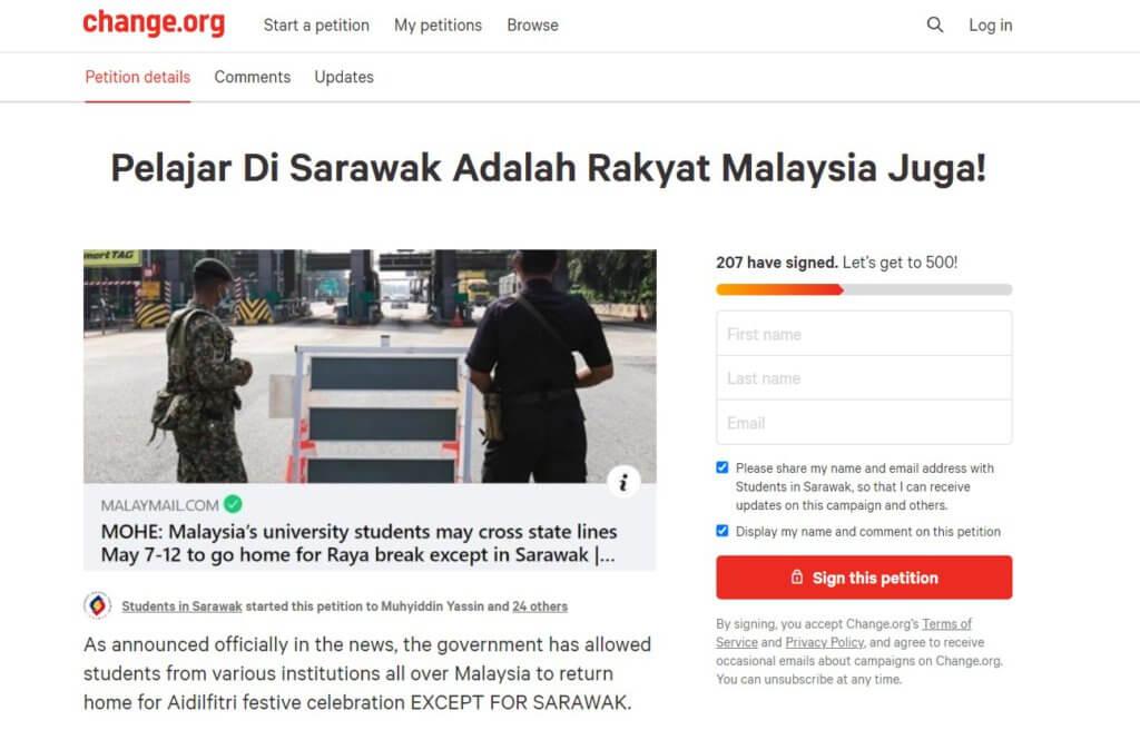 Anggap Keputusan Tak Adil, Pelajar IPT Lancar Petisyen Mansuhkan Pengecualian Pulang Untuk Sarawak