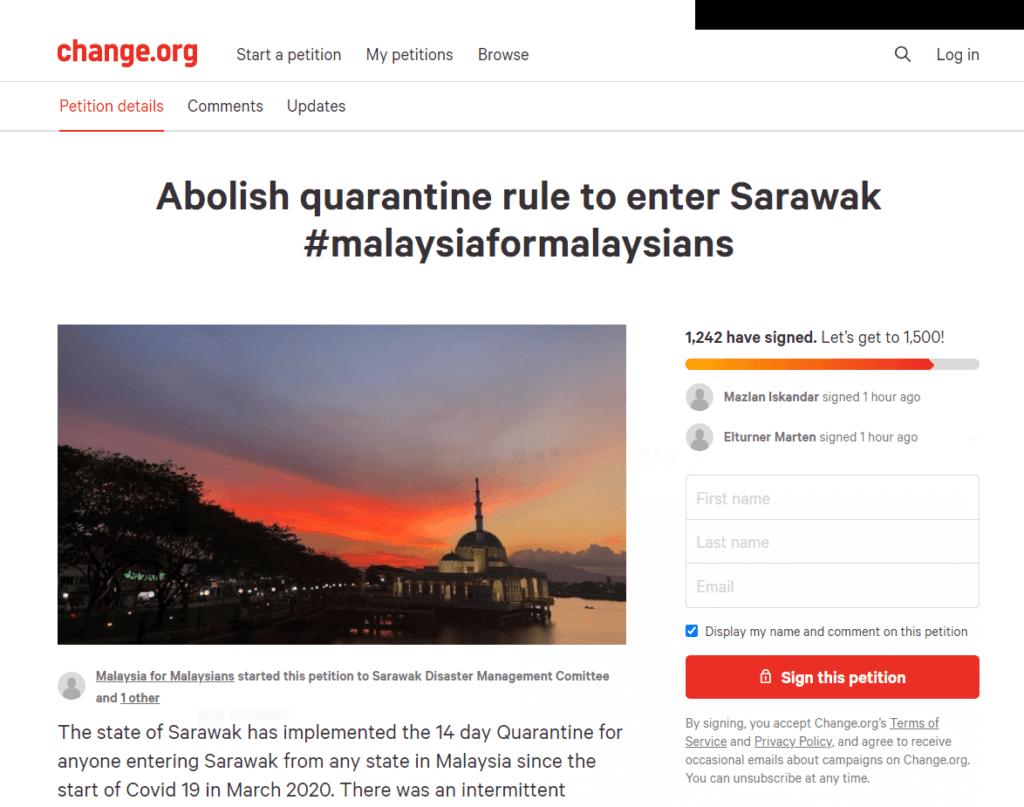 Berat Sebelah Dan Membebankan, Netizen Lancar Petisyen Mansuhkan Kuarantin 14 Hari Ke Sarawak
