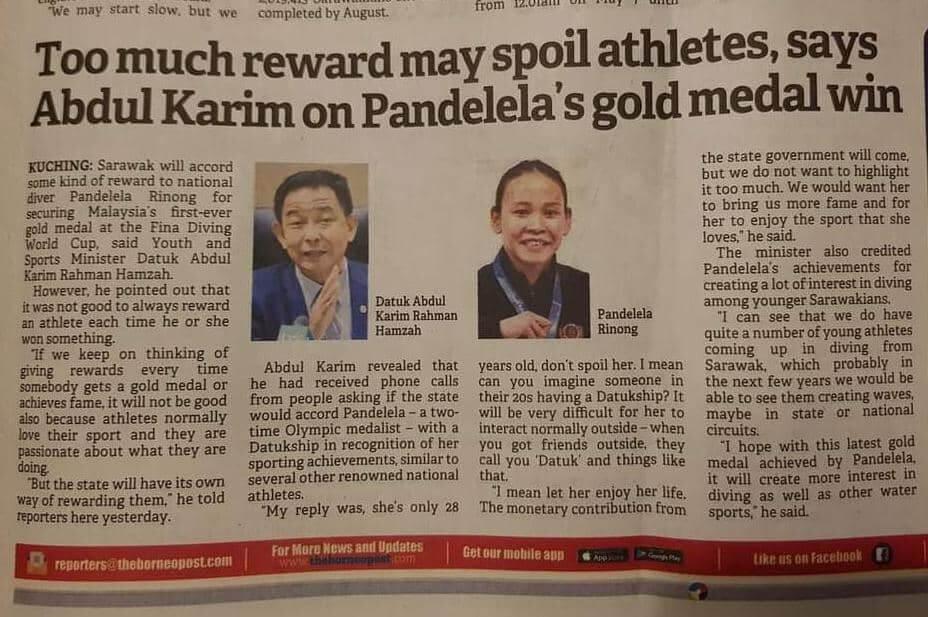 Ganjaran Boleh 'Rosakkan' Atlet : Berasas Atau Tidak?