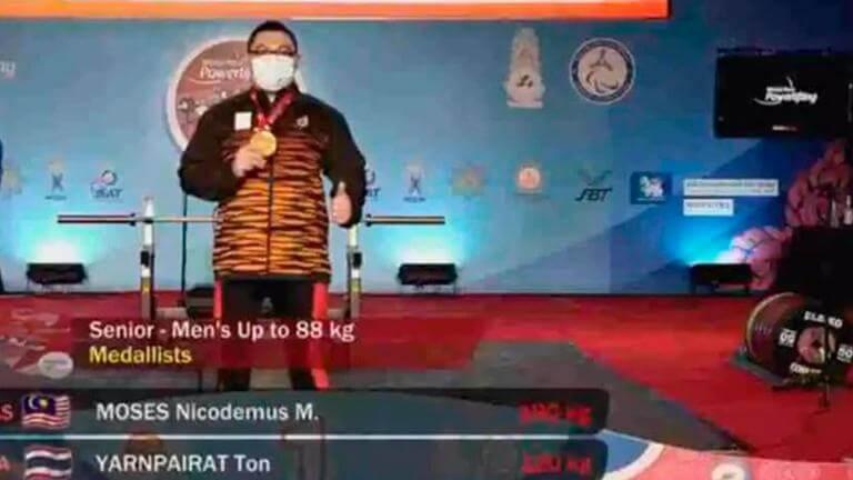 Atlet Paralimpik Sarawak, Bonnie Bunyau Rangkul Pingat Emas Kejohanan Angkat Berat Para Dunia 2021