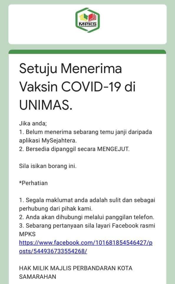 Google Form Vaksin COVID-19 Edaran Majlis Perbandaran Kota Samarahan Dihentikan Serta Merta