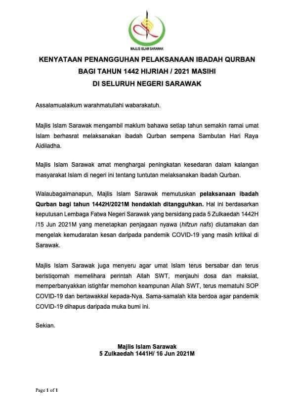 Ibadah Korban Ditangguhkan Sempena Sambutan Aidiladha Tahun Ini Di Sarawak