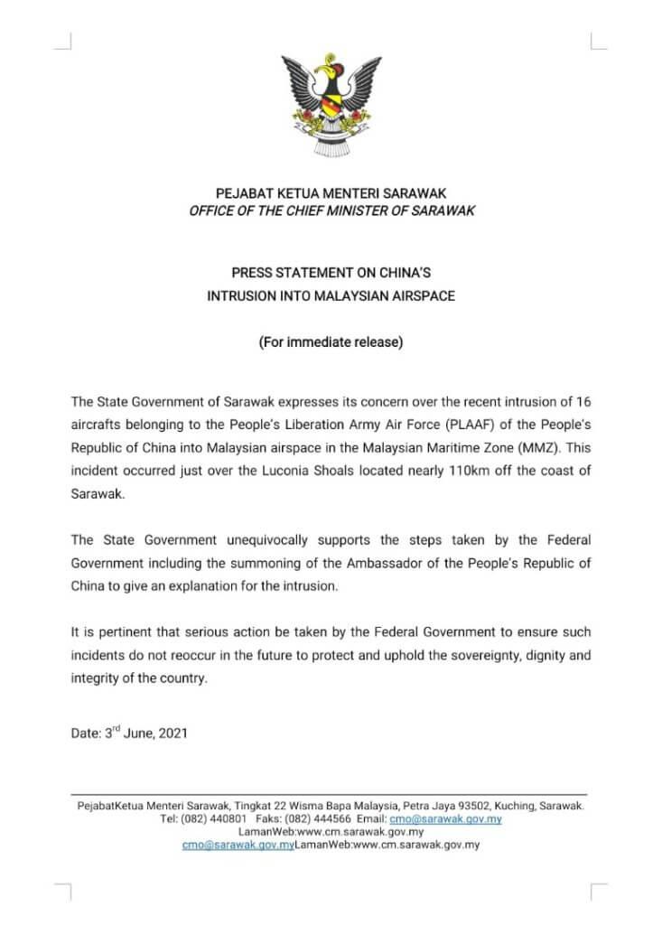 Selepas Sabah, Ruang Udara Sarawak Pula Diceroboh Oleh Pesawat Pertahanan China