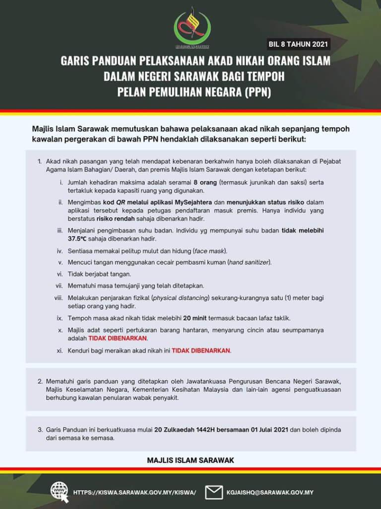 Akad Nikah Di Sarawak Hanya Boleh Dijalankan Selama 20 Minit Di Pejabat Agama Mulai 1 Julai