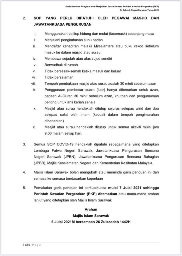 Solat Jumaat Di Masjid Jamek Sarawak Kini Dibenarkan Sehingga 400 Orang, Ini Garis Panduan Terbaharu