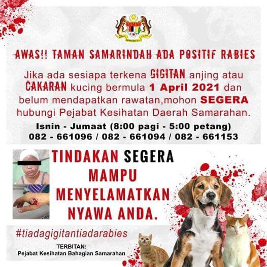 Kes Rabies Dikesan Di Taman Samarindah, Individu Pernah Digigit Anjing Diminta Tampil
