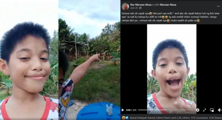 [VIDEO] - 'Aku Sik Cayak Kebun Tok Nang Kacak Viewnya', Video Budak Ini Buat Netizen Terhibur