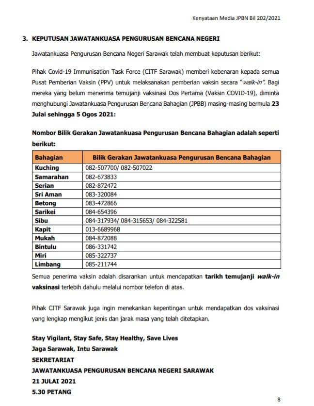 Individu Di Sarawak Sudah Boleh Dapatkan Vaksin Secara 'Walk-In' Di PPV Mulai 23 Julai