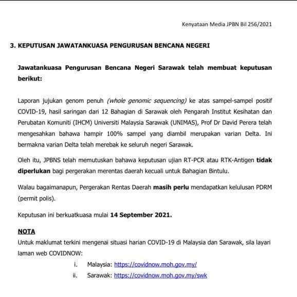 TERKINI : Tidak Perlu Ujian RT-PCR Atau RTK Untuk Ke Daerah Lain Di Sarawak Kecuali Bintulu