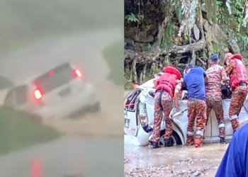 Sebuah Kereta Hanyut Akibat Lintas Jambatan Sewaktu Arus Deras, 2 Individu Ditemui Maut