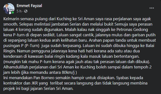 Lihat Keadaan Terkini Lebuh Raya Pan Borneo Serian-Sri Aman, Makin 'Smooth'!