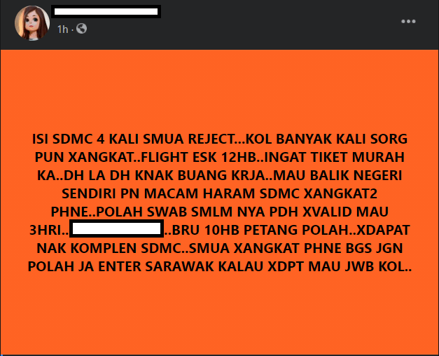 4 Kali Permohonan Balik Ke Sarawak Ditolak, Netizen Luah Kekecewaan
