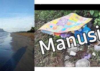 Dulu Hidden Gem, Lepas Trending Sampah Sarap Mula Penuhi Pantai Trombol Kuching